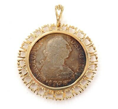 .A 14K Gold Surrond 1776 Spanish 2 Reales Silver Coin Pendant.