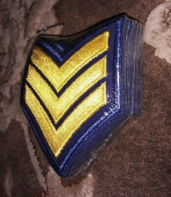 One Pair Sergeant Detective Police Security Chevron Stripes Patch Gold//Blk//Blue