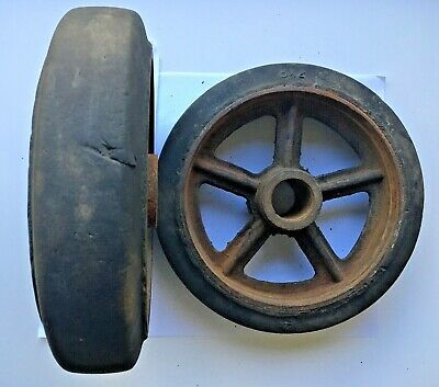 Vintage Cast Metal Spoke Wheels Rubber Tires steampunk industrial restoration