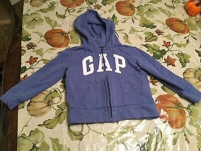 GAP Girls SIZE 4-5 T Logo Hoodie Jacket Full Zip Sweatshirt Purple With Sparkles