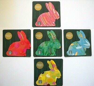 STARBUCKS Bunny Gift Set Card Rabbit Easter 5 Cards Lot LIMITED EDITION NEW