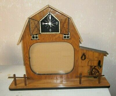 Western Wooden Horse Barn Wall Clock Picture Frame