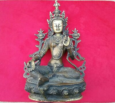 Antique Chinese Asian Brass Bronze Buddha Figure Statue Old Rare