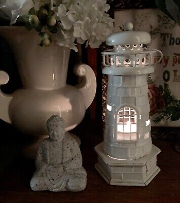 Gorgeous White Metal Lighthouse Figurine Tea Light Candle Ornament Seaside