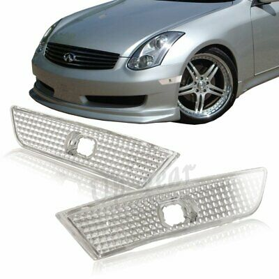 Fit 2003-07 Infiniti G35 Coupe 2DR Chrome Housing Clear Lens Side Marker Lights
