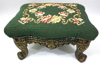 Vintage Victorian Foot Stool with Needlepoint Floral Scrolling & Cast Iron Legs