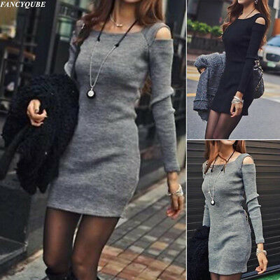 Women Sexy Cold Shoulder Knitted Jumper Sweater Tops Pullover Long Tops Dress