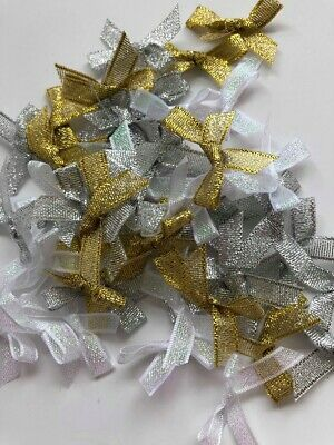 Small Satin Ribbon Bows Pre-Tied Craft Sewing Wedding Embellishments Mixed