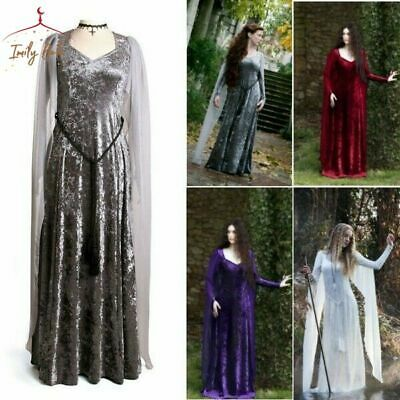 Women Vintage Princess Dress Pure Medieval Maxi Fantasy Gown Fairy Cosplay