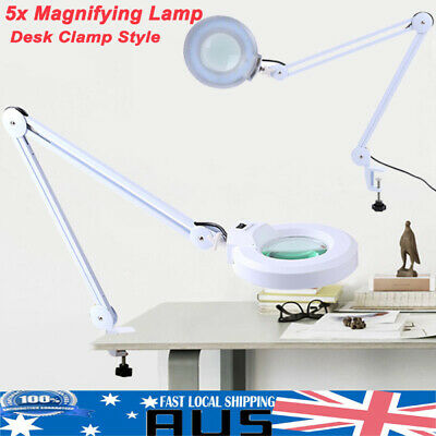 """Bright 5X Magnifying Lamp 5 Diopter Magnifier Desk Clamp Light 5"""" Glass Lens AU"""