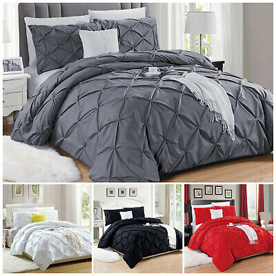 Pintuck Pleated Duvet Cover With Pillowcases Bedding Set Single Double King Size