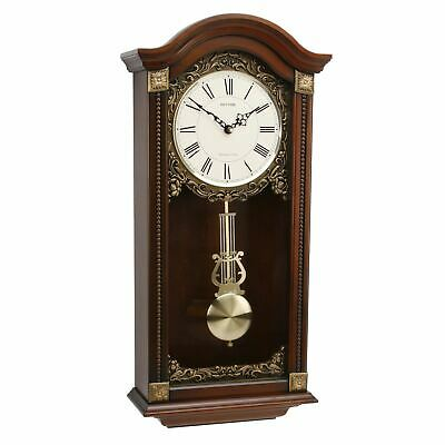 Rhythm Wood Pend Wall Clock Qtz West Chime/Strike Arched Top