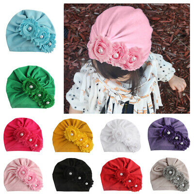 Newborn Baby Pearls Three Flower Cotton Beanie Cap Solid Color Soft Indian Hat