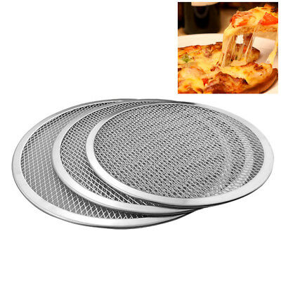 HD_ KE_ Aluminium Alloy Mesh Pizza Screen Baking Tray Bakeware Plate Pan Net  Ey
