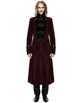 DEVIL Fashion Da Donna Lungo Cappotto Giacca Gotico Red Velvet Steampunk Aristocrat Vintage