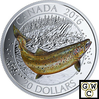 2016 Atlantic Salmon-Canadian Salmonids Color Prf $20 Silver 1oz Fine(NT)(17566)