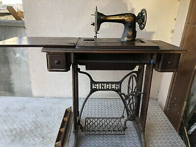 Vtg Antique Singer Treadle Sewing Machine Table Cabinet Cast Iron