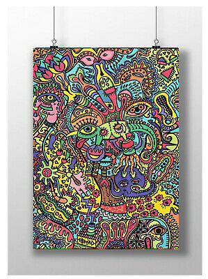 Trippy Psychedelic Face Eyes Poster Collage Art Print Size A3 A4