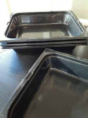 Half Size 1/2 Pan NSF Black Salad Bar Food Service Serving Mixed Brands - 4 Pans