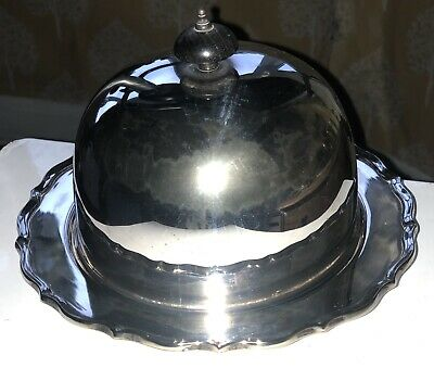 Baker Bros Antique Silver Plate Plated Muffin Serving Platter Dish Tray Bowl