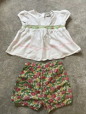 Next Girls Smocked Top Blouse And Shorts Set 12-18 Months