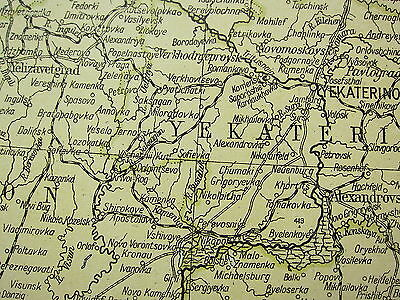 1919 Large Map ~ Russia South West ~ Crimea Inset Minerals & Population