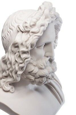 Marble Zeus Bust (Large), King of the Greek Gods, Classical Sculpture. Art, Gift