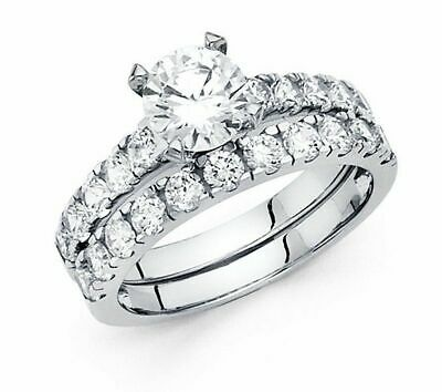 14k Solid White Gold Diamond 2 CT Round Engagement Ring Wedding Band Bridal Set