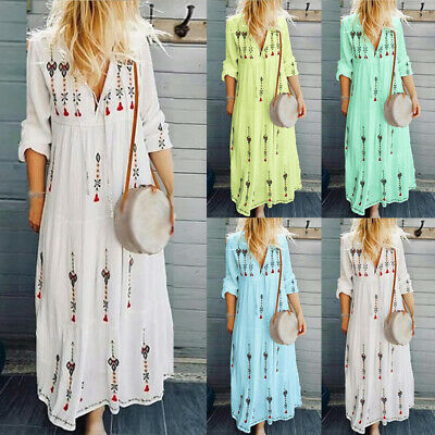 Women Dress Ladies Holiday Summer Maxi Dress Cocktail Printed Casual Evening