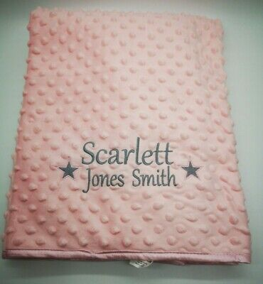 Personalised Luxury Baby Blanket Embroidered Boy Girl New Baby Birth Gift star