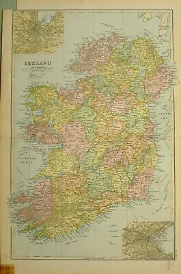 1902 Map Ireland Belfast Connaught Ulster Down Dublin Tipperary Wexford