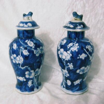 Pair Prunus blue & white SMALL chinese temple vases, character marks to base