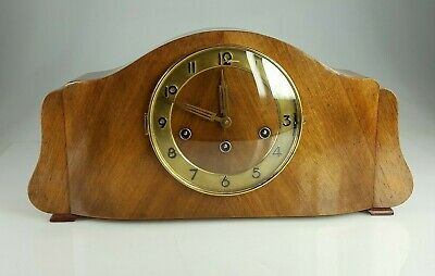 Walnut Triple chime Mantle Clock in Working Order for Restore