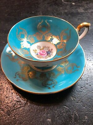 Aynsley Footed Tea Cup Saucer J.A. Bailey Cabbage Rose Bouquet Turquoise 1543