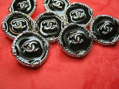 CHANEL 8  black   BUTTONS  sz 15mm SILVER cc logo, 8 pc FREE SHIPPING