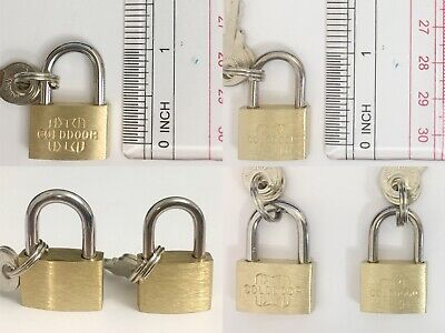 2 Pack Lot Padlock With Key Mini Small Brass Lock Luggage Cabinets Toolbox