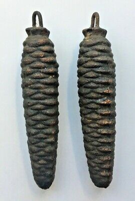 (2) Vintage Cast Iron Pine Cone weights Cuckoo Clock weights approx 9 oz each