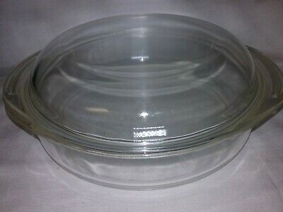 """Vintage PYREX  #221  Clear Glass Deep 8"""" Dish Pie/Casserole Dish With Handle USA"""