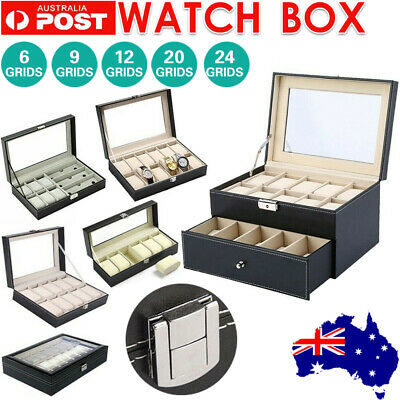 6-24 Grids Leather Watch Display Case Jewelry Collection Storage Holder Box Gift