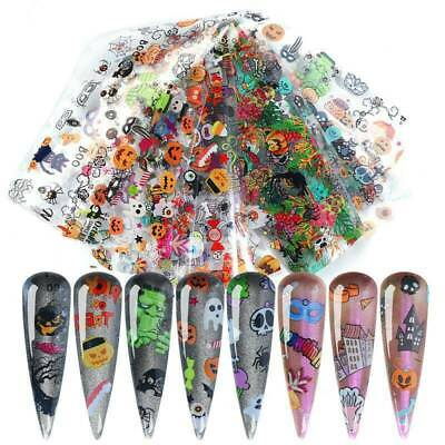 10 Sheets Halloween Theme Nail Art Foil Transfer Stickers Foils Printing Designs