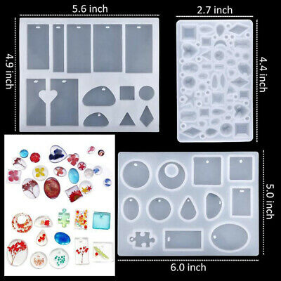 Handmade Jewelry Pendant Mould DIY 94PCS Silicone Resin Making Molds Crystal Kit