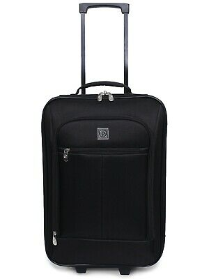 "Carry On Luggage Suitcase 18"" Cabin Bag Small Black Lightweight Rolling Baggage"