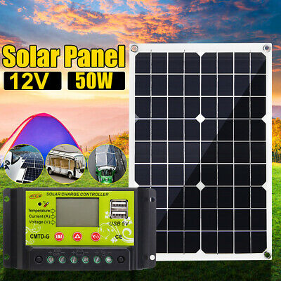 50W 12V/5V Dual USB Solar Panel Battery Charger RV Car Boat +10-40A Controller