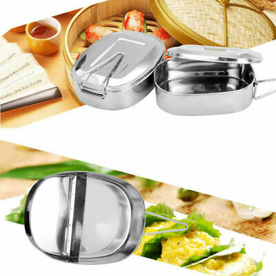 Double layer Stainless Steel Container Bento Food Picnic Lunch Box Case AU
