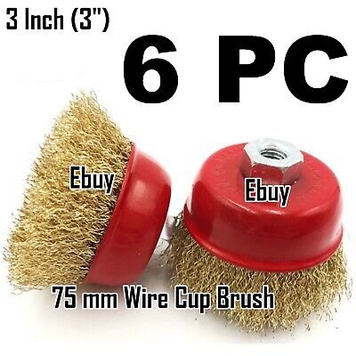 "6 PC - 3"" Wire Brush Steel Crimp Cup Angle Grinder M14 Rust Paint Removal"