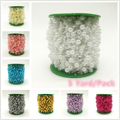 Hot 5 Yards 8mm and 3mm Mix Pearls Beads Chain Flowers Hair Bouquet Decoration