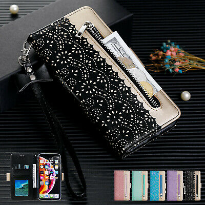 Leather Magntic Zipper Flip Wallet Case For Samsung Galaxy S8 S10 S9 A70 A50