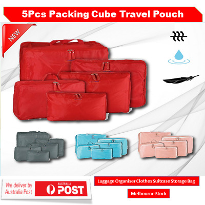 5pcs Packing Cube Pouch Suitcase Organiser Clothes Storage Bags Travel Luggage
