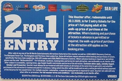 2 for 1 Entry vouchers for Alton towers, Legoland, Sea Life, Thorpe Park ...etc