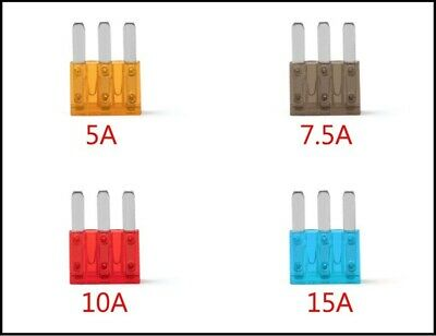 Mix Pack of Micro 3 Blade Fuses 5a, 7.5a, 10a, 15a Multi Quantities Available